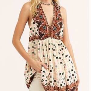 Free People Charlotte Mixed Color Print Top Tunic